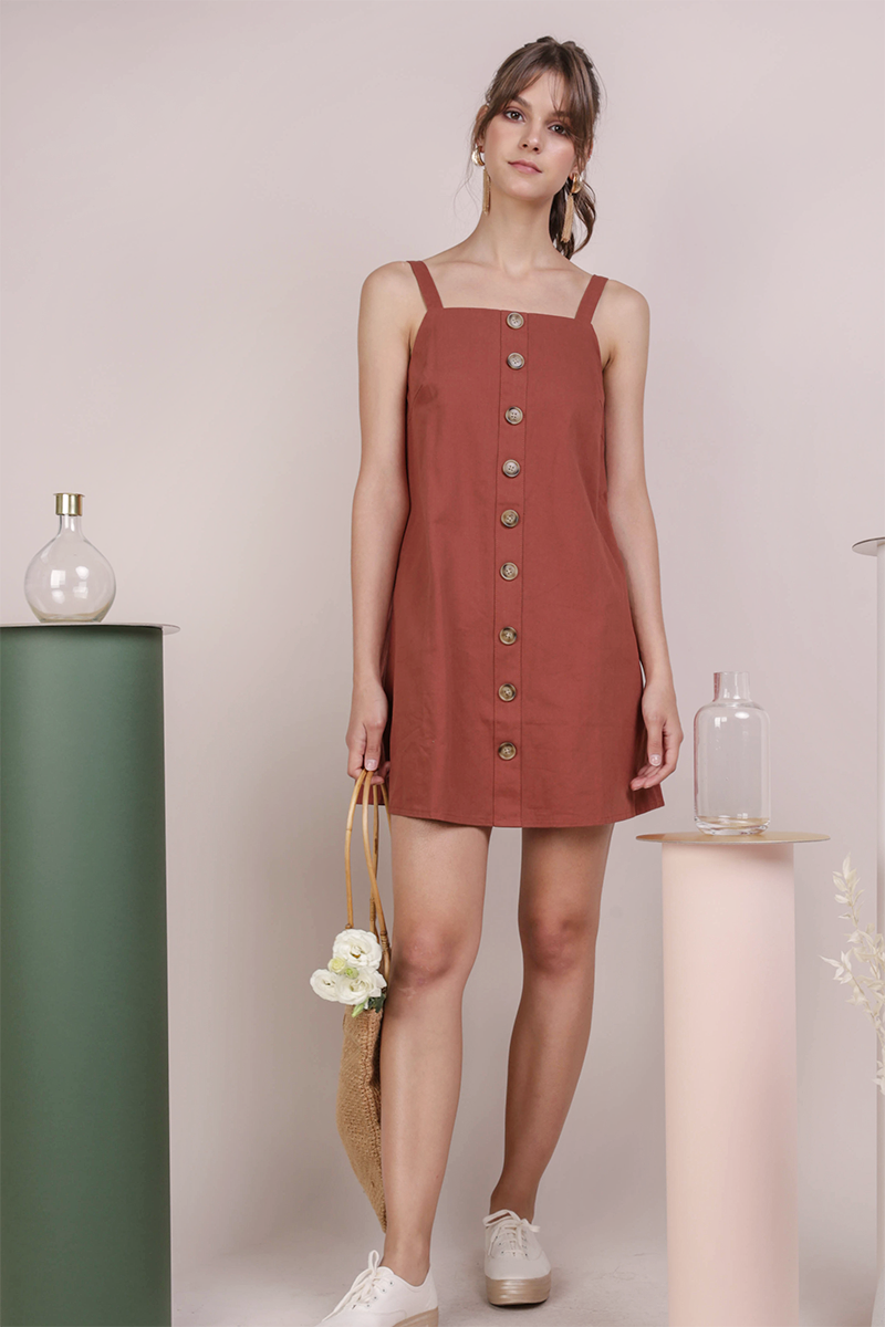 Shania Button Down Dress (Rust)
