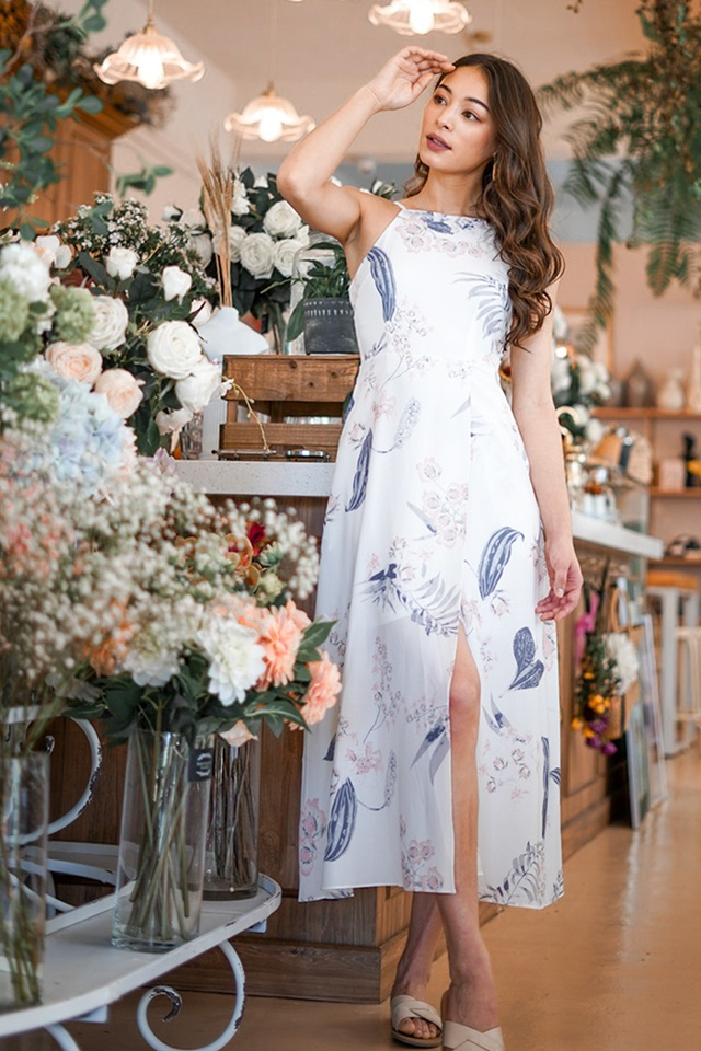 RIVELLA  FLORAL MAXI SLIT DRESS #MADEBYLOVET (WHITE)
