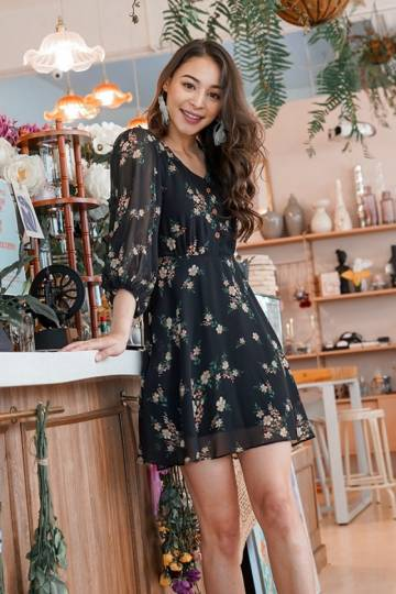 TAUVIA SLEEVED FLORAL BUTTON DRESS #MADEBYLOVET (BLACK)