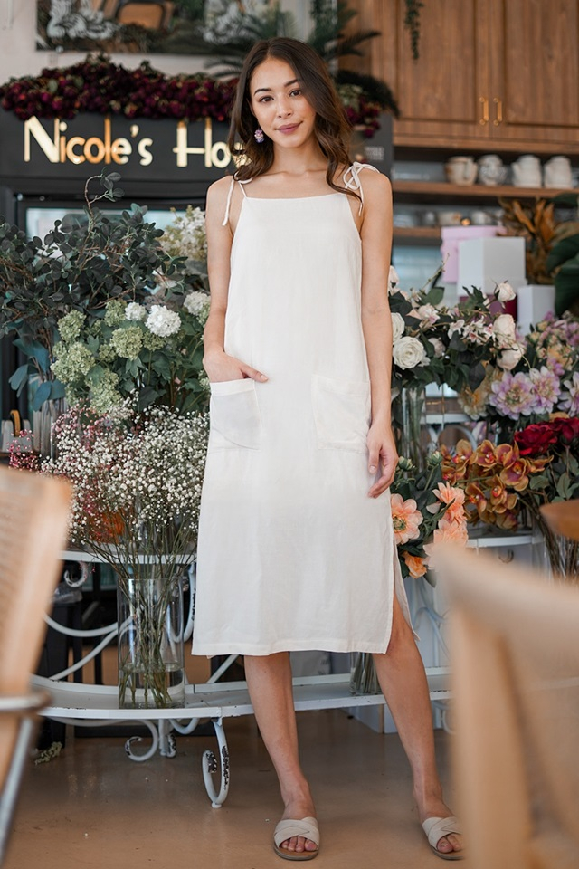 DORCAS LINEN TIE-STRING POCKET MIDI DRESS #MADEBYLOVET (SAND)