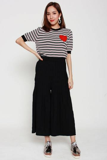 Neves Pleated Culottes in Black