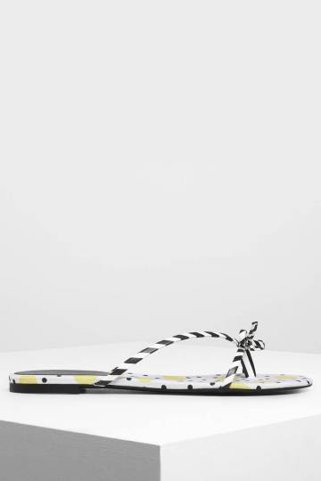Strappy Bow Printed Thong Sandals