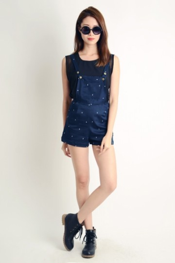 BACKORDER: Mini Sailboat Print Navy Overalls