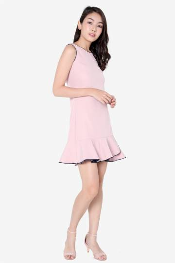 Sandi Piping Flutter Hem Dress (Pink)