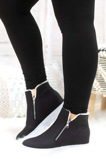 House Party Sneaker Wedges in Black