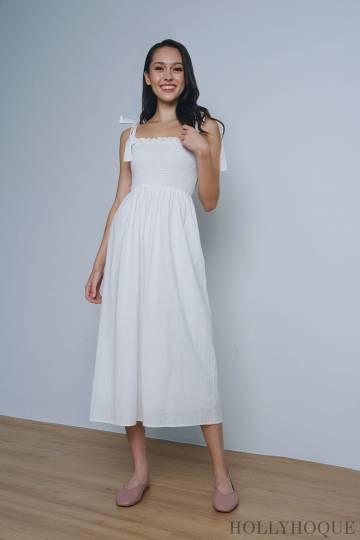 Chrysalis Smocked Maxi Dress White