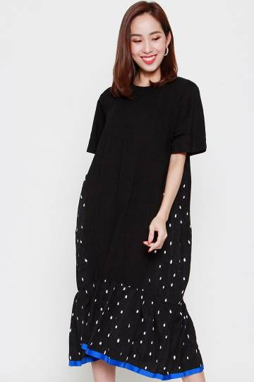 Eloise Polkadot Dress in Blue Black