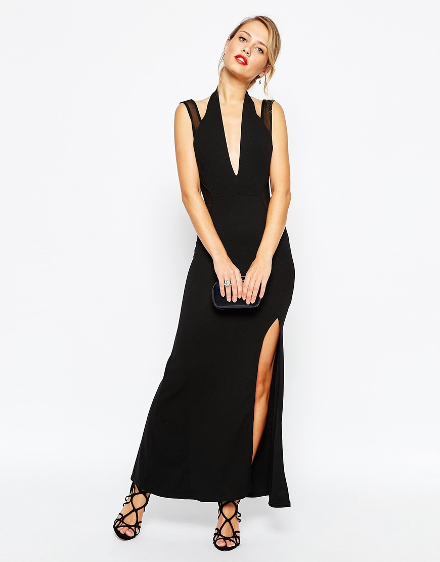 4753240296 TFNC Halterneck Maxi Dress With Mesh Panel Sides - ShopperBoard