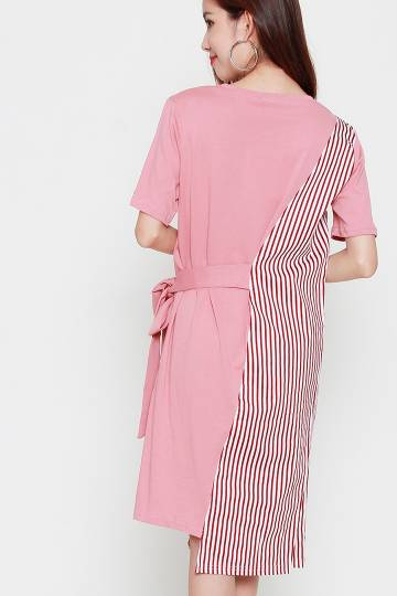 Malcom Stripe Tie Dress in Pink