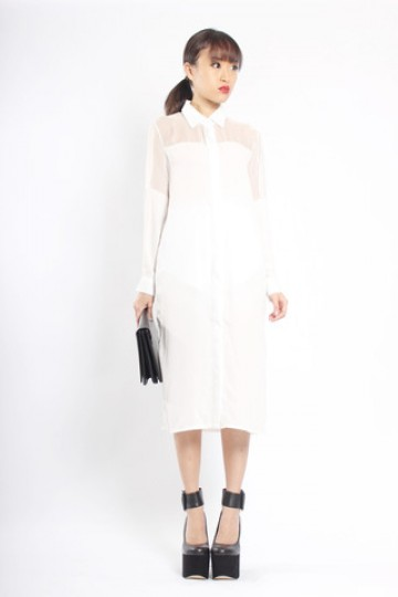 Mesh Panel Shirt Dress in White