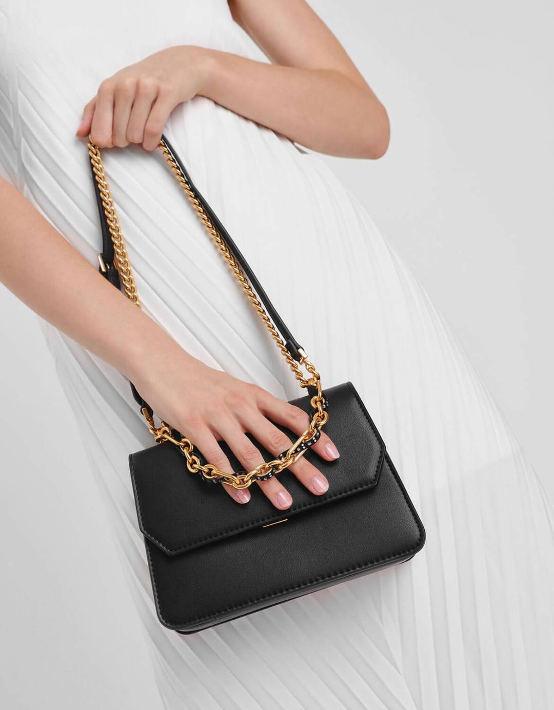 Chain Link Front Flap Bag