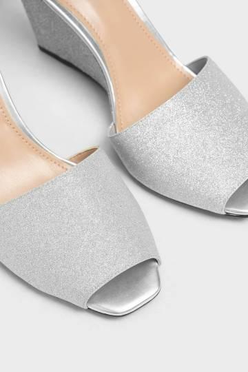 Glitter Peep Toe Wedges