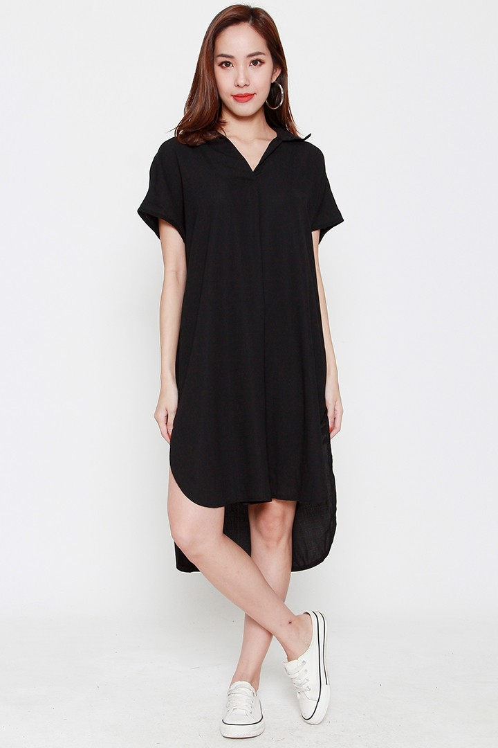 Backorders Connor Shirt Dress in Black