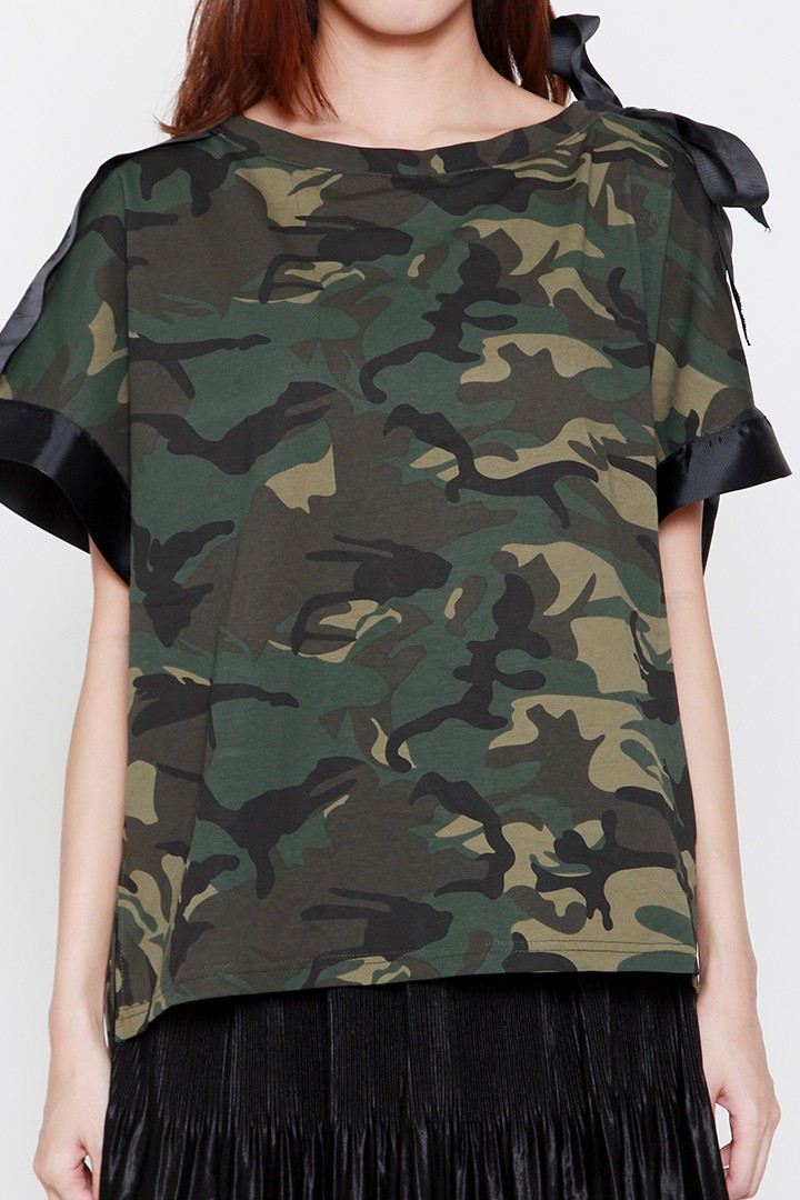 Finko Camo Ribbon Top