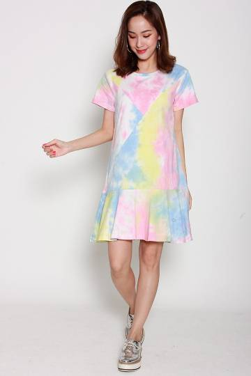 Backorders Ellymae Tie Dye Dress in Pink Yellow