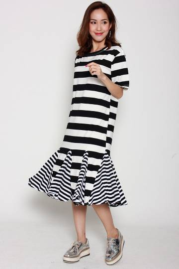 Fuji Stripe Dress in Black White