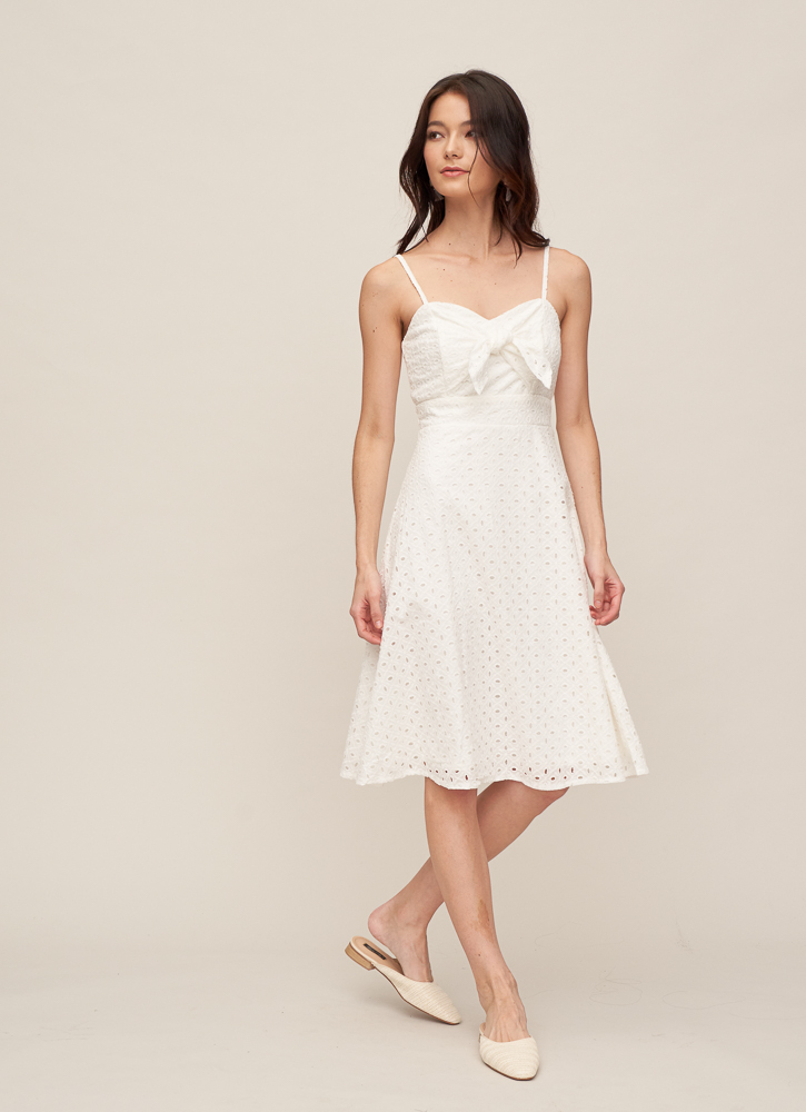 KHLOE Knotted Dress in White, By LVG