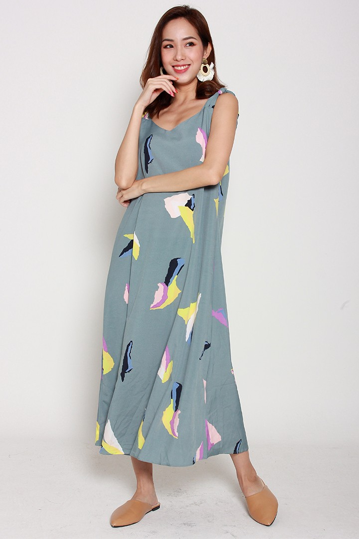 Reyes Printed Dress in Mint Green Yellow