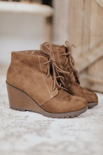 Forever Yours Lace Up Booties Wedge in Brown