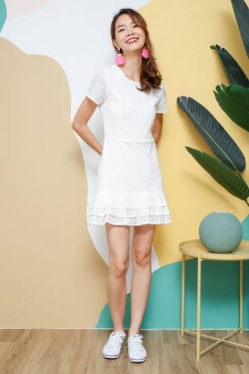 Tender Eyelet Tiers Dropwaist Dress White