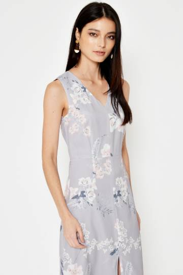 ea607683a724a8 LAURA FLORAL MIDI DRESS LILAC GREY
