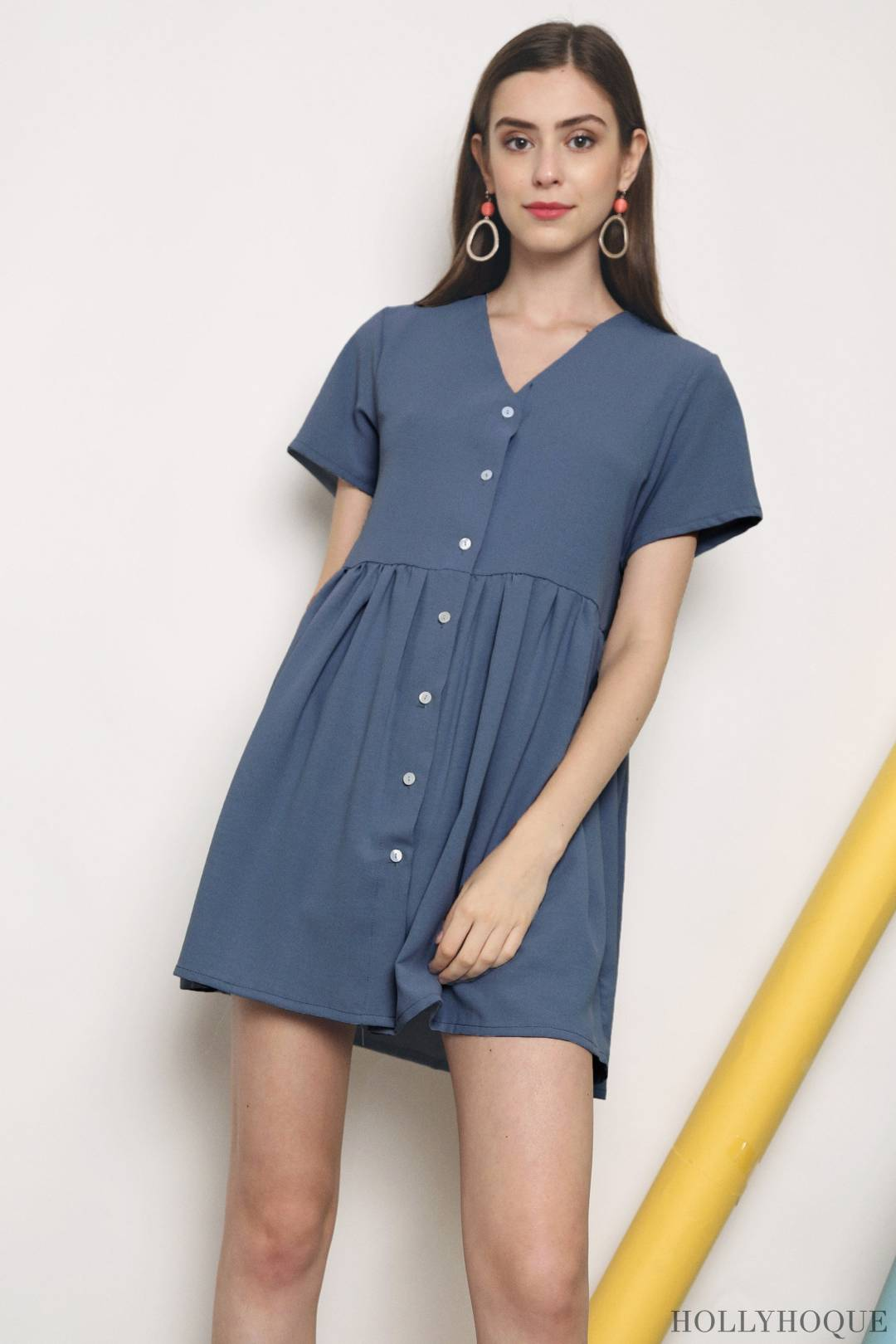 Etsy Button Down Babydoll Dress Blue