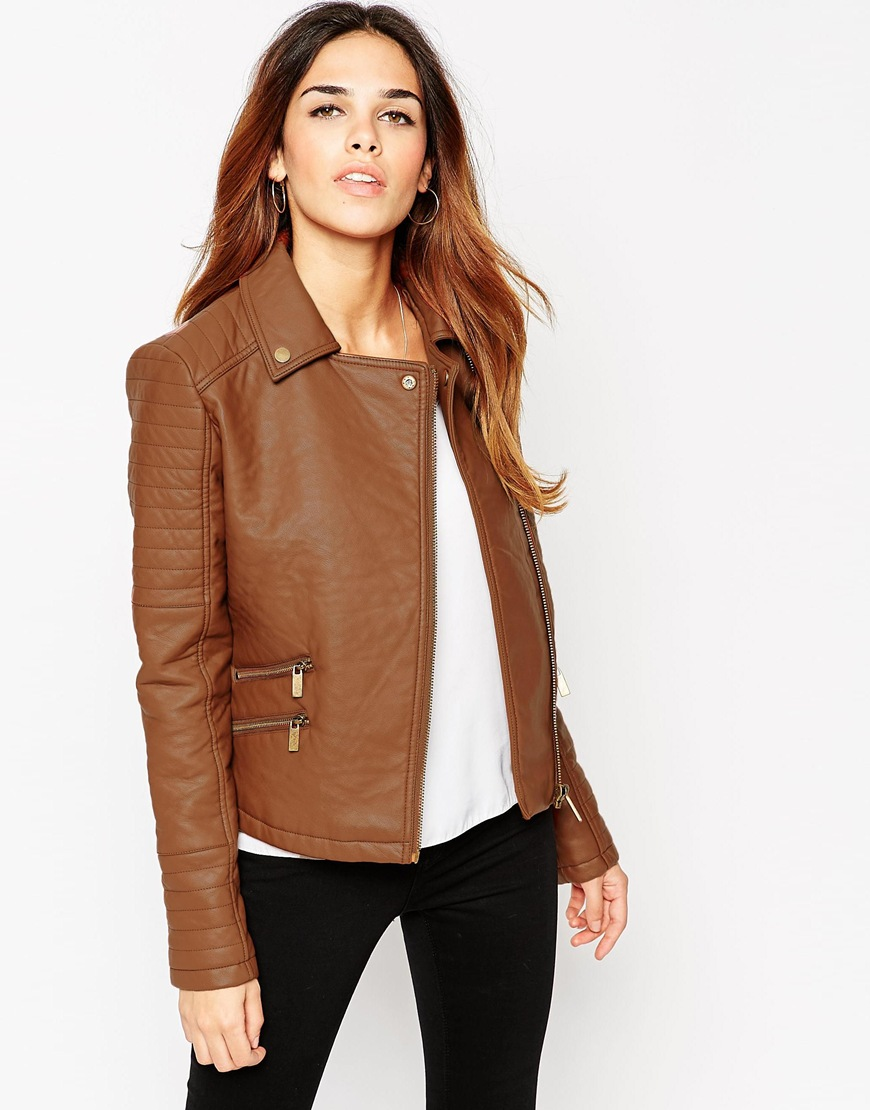 0d57c88eb ASOS Textured Faux Leather Biker Jacket With Zip Detail - ShopperBoard