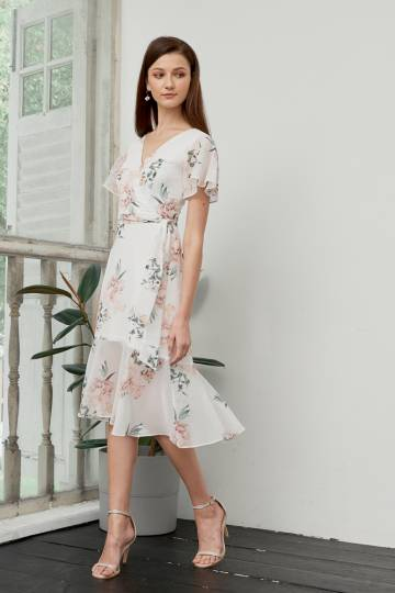 //Restock// Vivienne Floral Midi Dress in White, By Lovengold