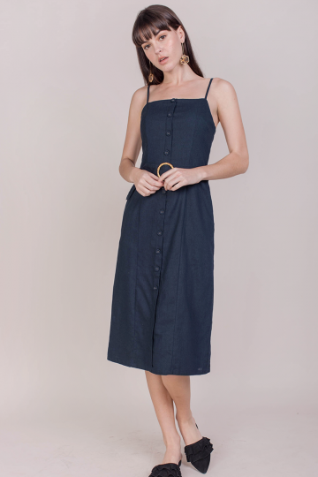 Kin Buckle Midi Dress (Navy)
