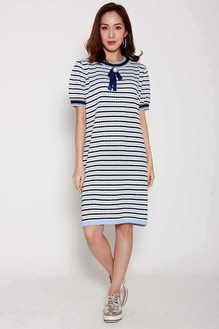 Micha Knit Dress in Blue