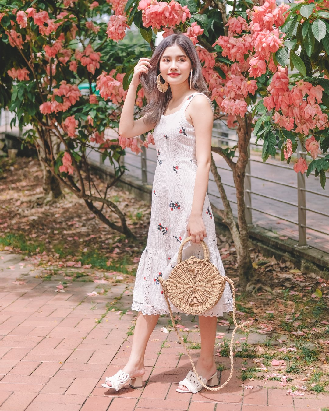[Restocked] Eden Embroidered Floral Dress in White