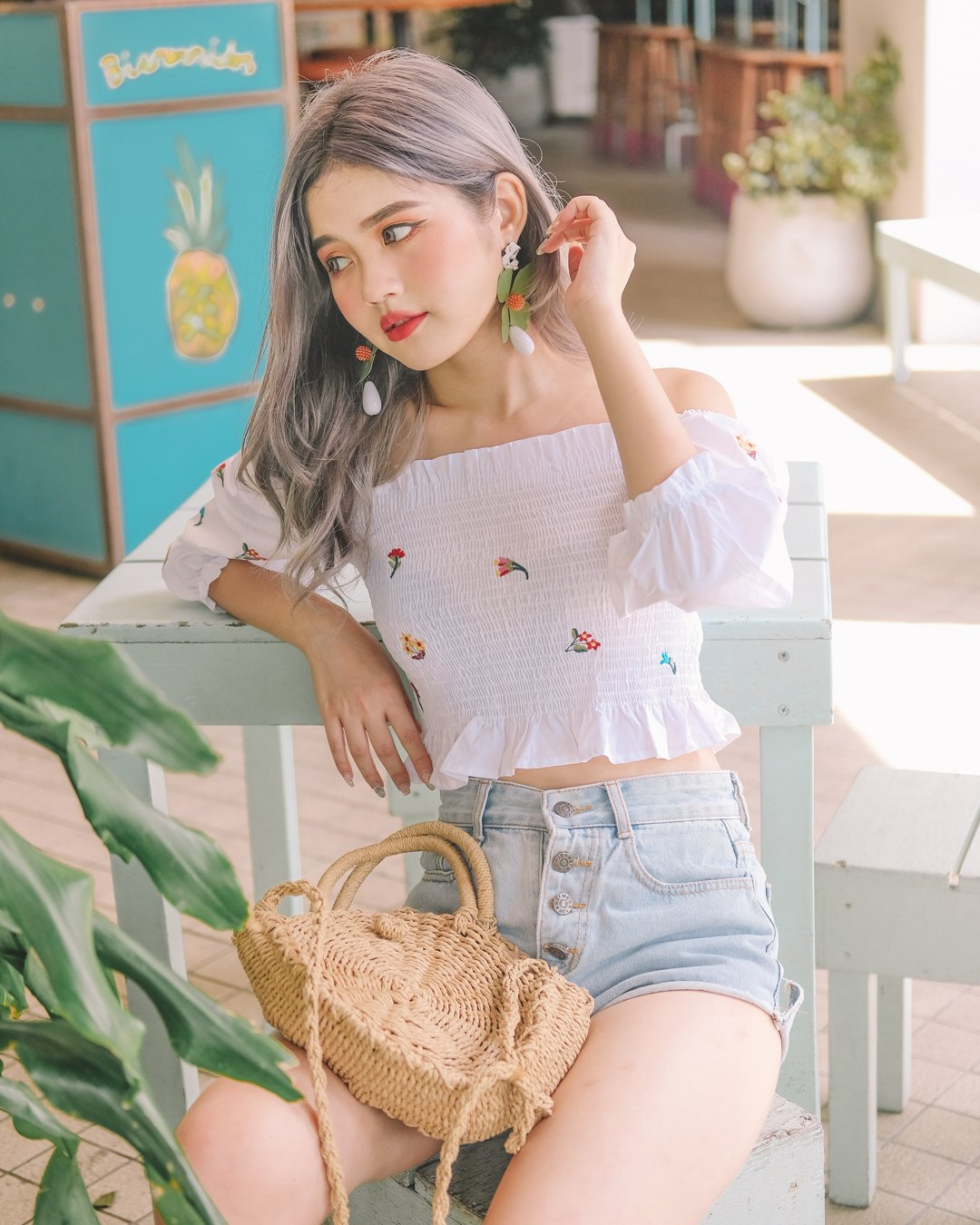 [Restocked] Embroidered Floral Bardot Top