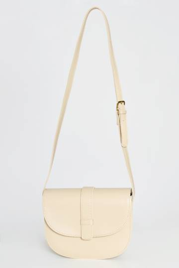 BUCKLE HALF MOON CROSS BODY BAG CREAM