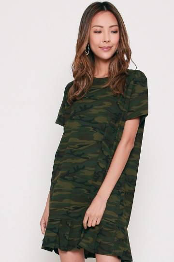 Backorders Days Camo Pleated Dress