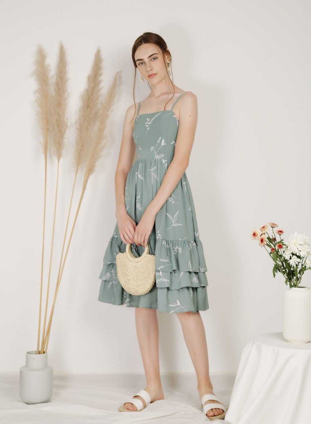 Scenic Ruffle Tiers Midi Dress (Sage Floral)