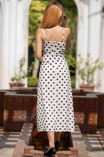 Slit Midi Dress in Polkadot