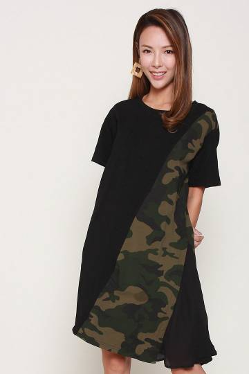 Backorders Oakland Camo Dress in Black