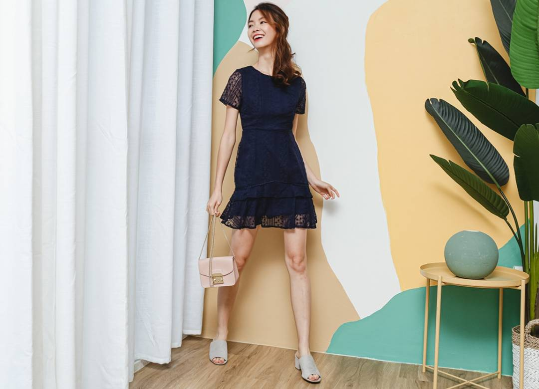 Lacelike Embroidery Dropwaist Dress Navy Blue