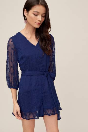 THISTLE Embroidered Playsuit in Navy, By LVG