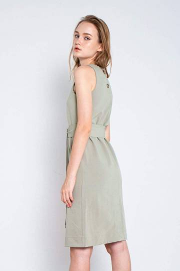 DEBBIE SAGE GREEN BACK BUTTON DRESS