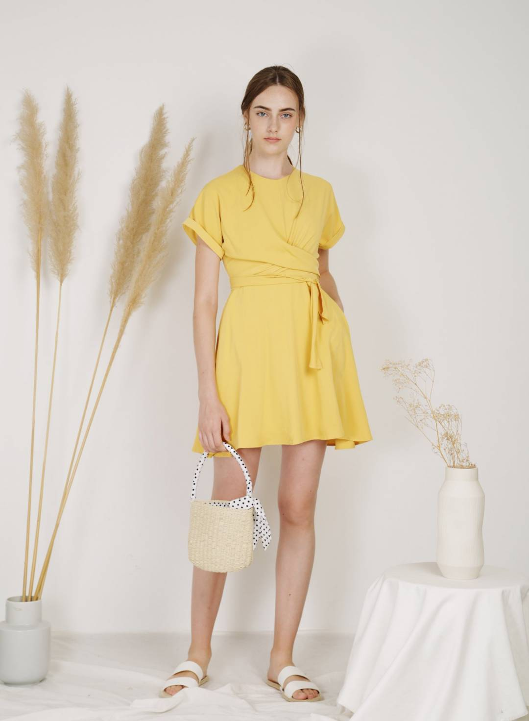 Sundial Wrap Front Flare Dress (Daffodil)