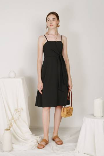 Bella Tie Front Midi Dress (Black)