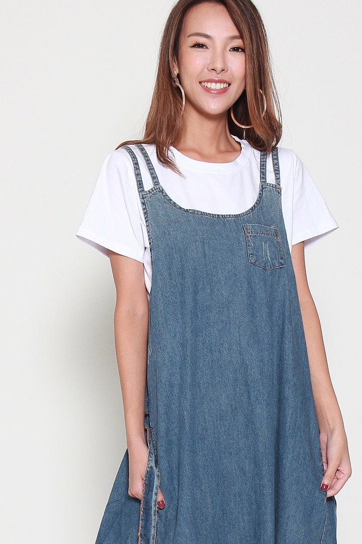 Herdiani Denim Pinafore Dress