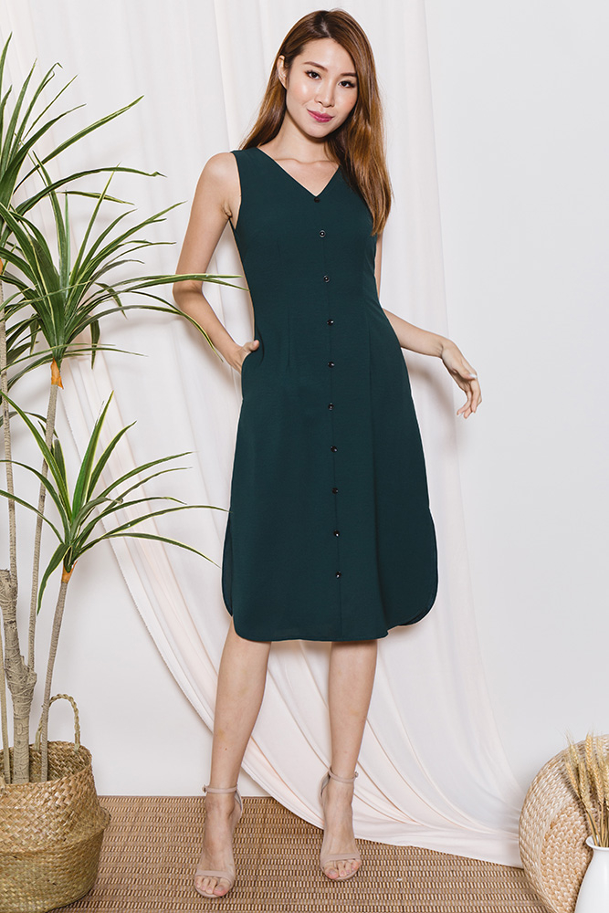 JUDITH Curve Hem Button Midi Dress (Forest Green)