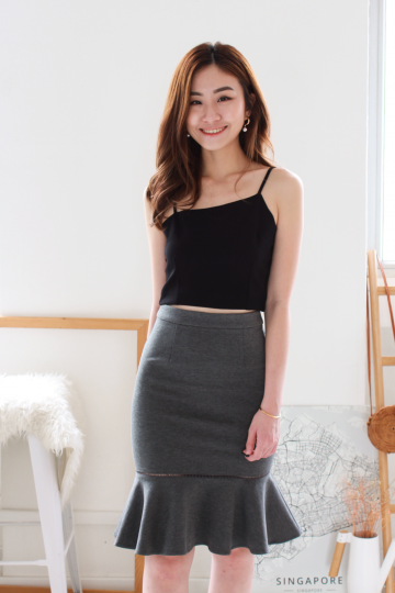 Risa Asymmetric Crop Top in Black