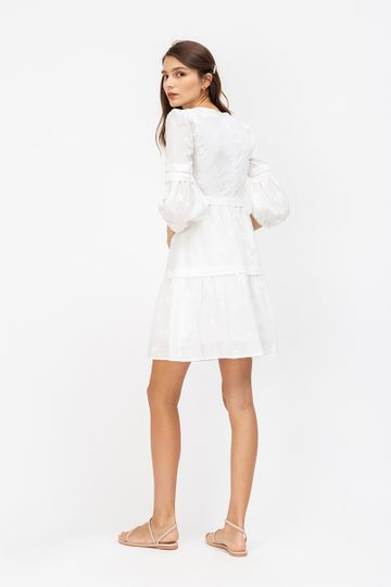 *BACKORDER* DEANNA EMBROIDERED PUFF SLEEVE TIERED DRESS