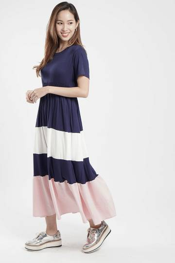 Avalyn Ruched Dress in Blue Pink