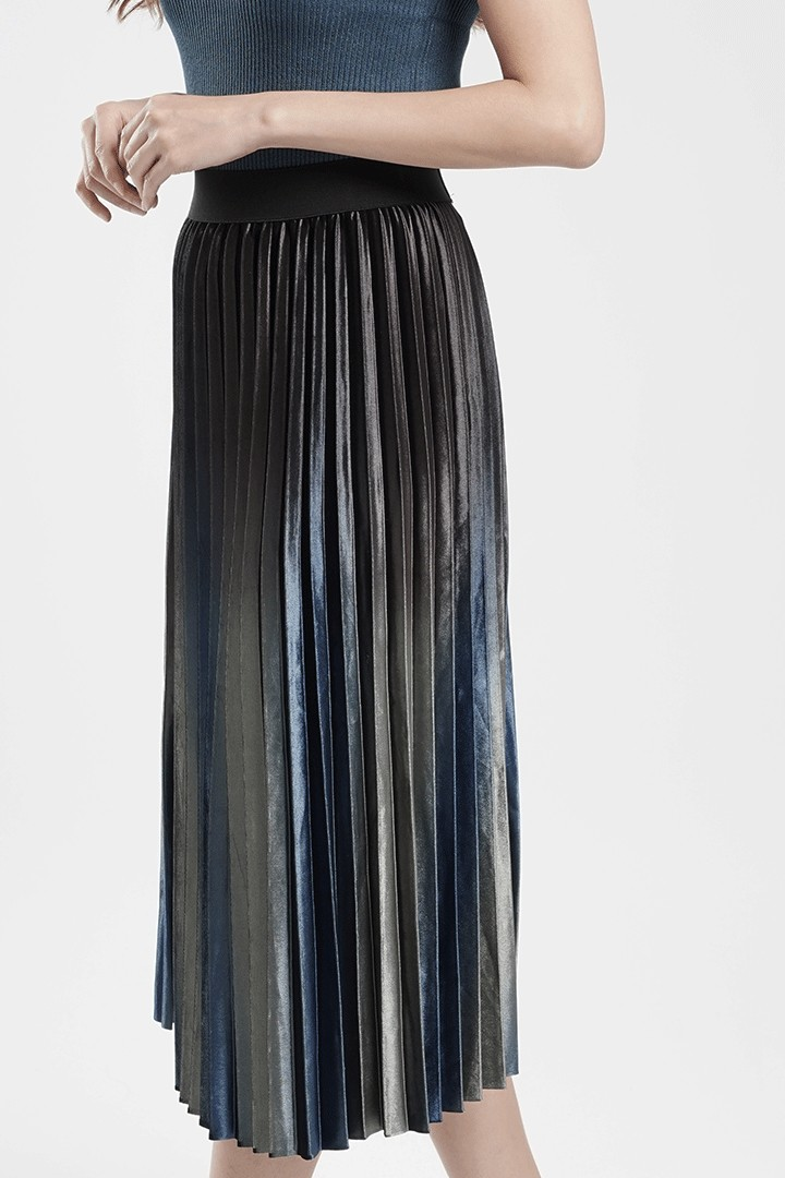 Ombre Blue Pleated Skirt