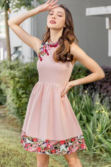 Mystical Cranes Cheongsam Dress W Fabric Mask (Pink)