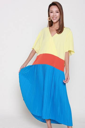 Hinn Colourblock Dress in Yellow Orange Blue